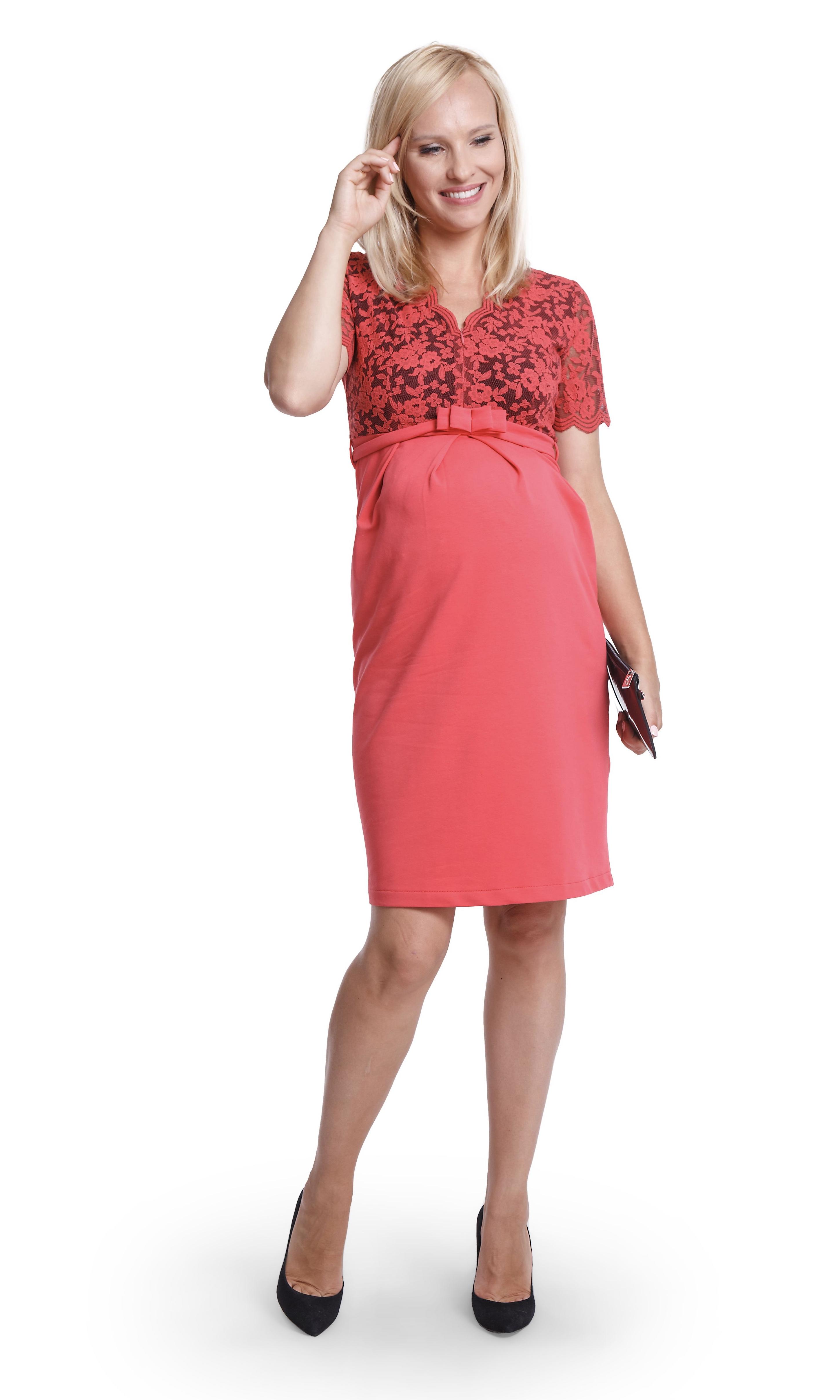 Robe de grossesse à dentelle - Rouge Corail
