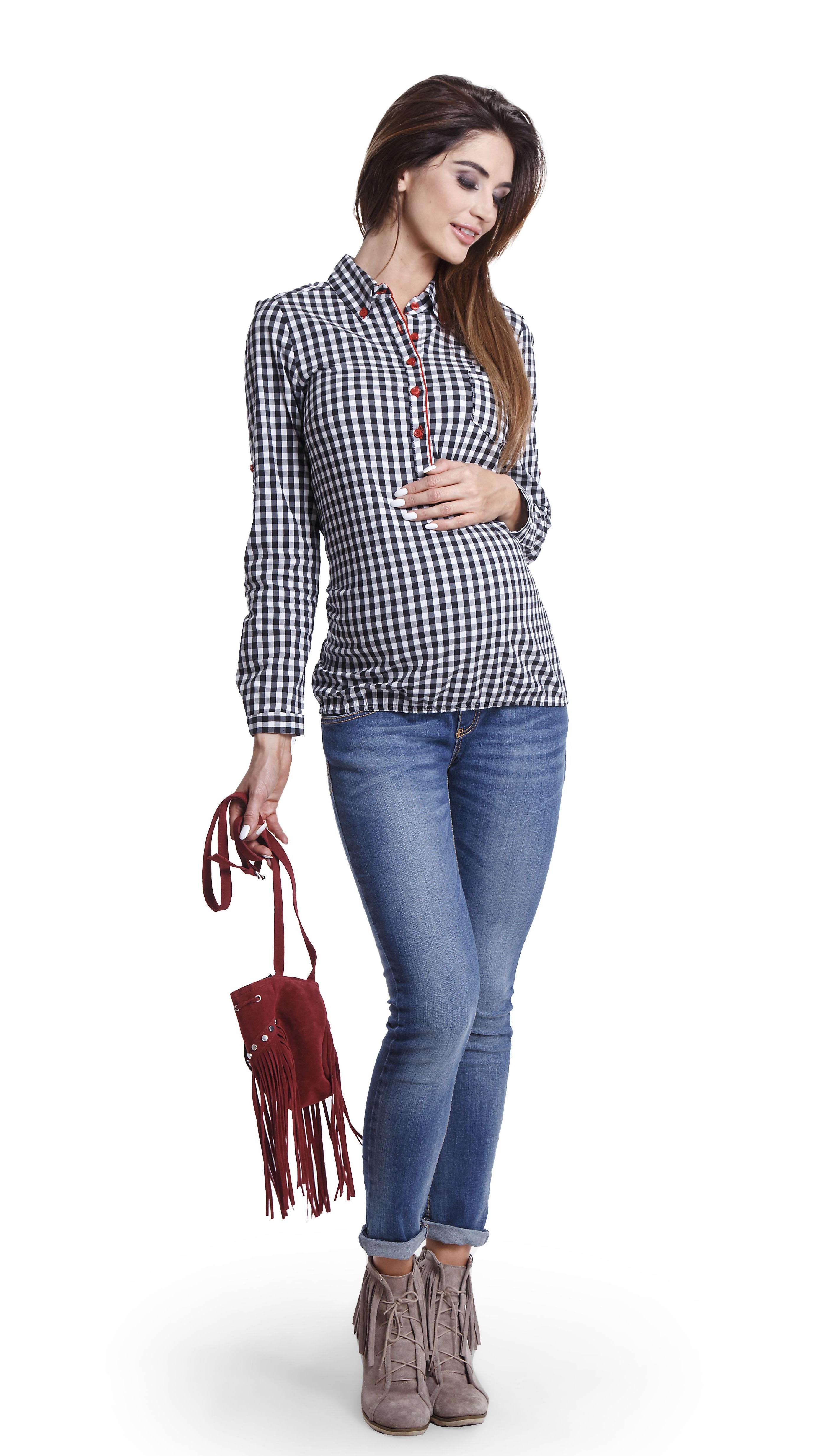 Chemise de grossesse à carreaux noir & blanc