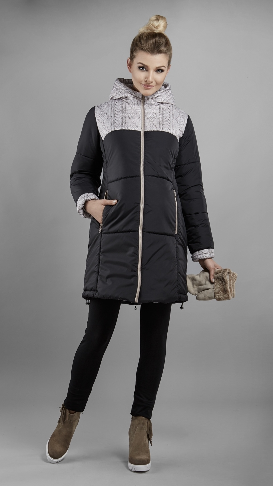 Manteau grossesse - Noir & Tricot