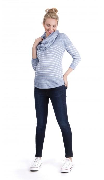 Pull de grossesse Bleu chiné à rayures