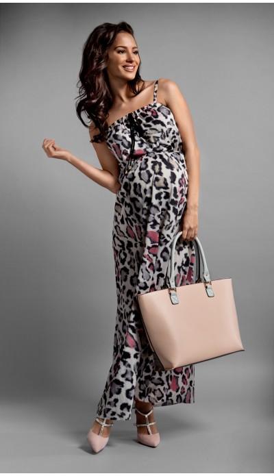 Robe longue léopard rose