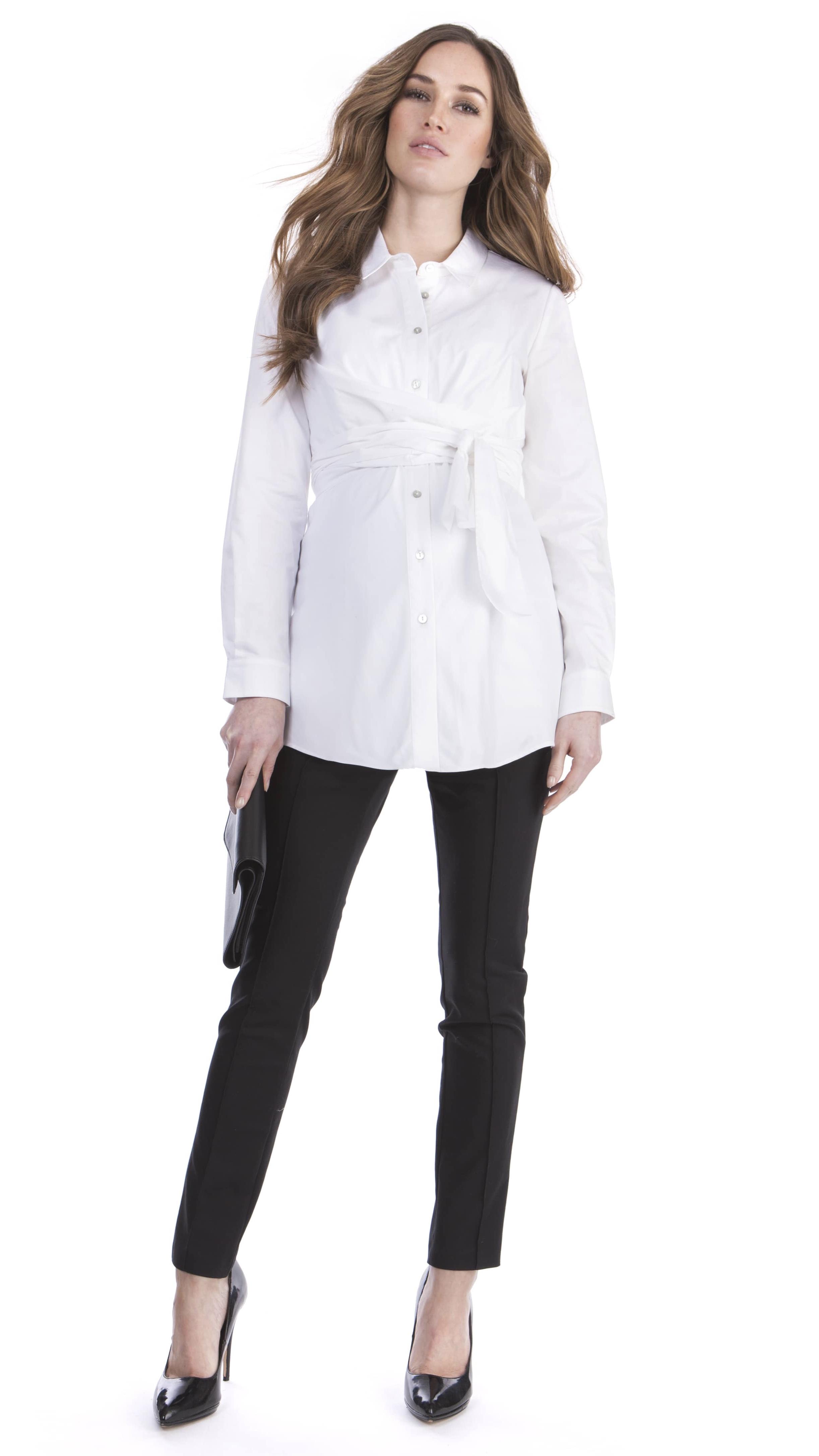 Chemise à ruban large - Blanche
